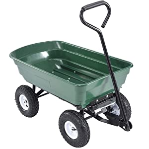 mecor Dump Garden Cart with Heavy Duty Poly Garden Utility Yard Wagon with Wheels,Flat Free Tires 660lbs Multifunctional Pulling Wagon (Green)