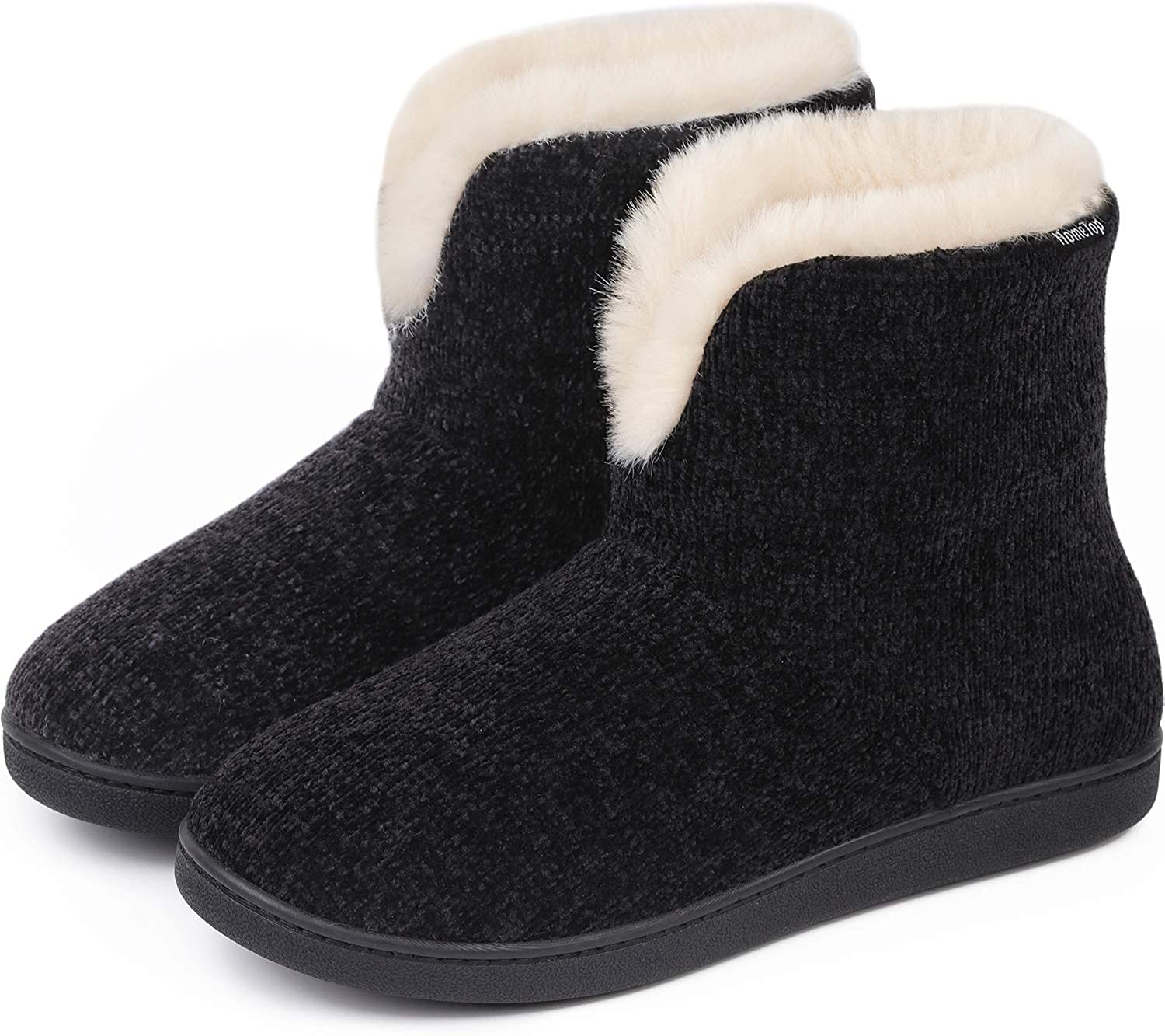 HomeTop Women's Comfy Chenille Knit Memory Foam Bootie Slipper with Fuzzy Plush Lining