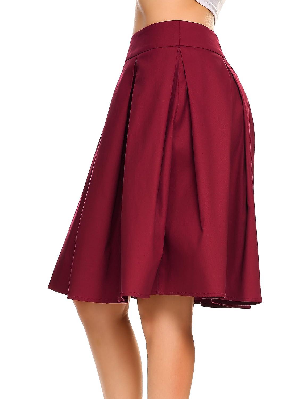 6eefcbf42a7bdd Shine Women Vintage High Waiste A Line Pleated Skirts Skater Full Midi Skirt  Wine Red at Amazon Women's Clothing store: