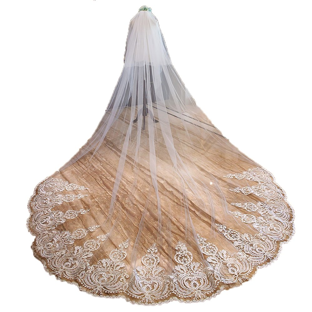 1 New 3.5M 2T Nature White Wedding Bridal Veils with Free Comb 4