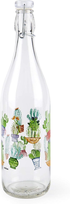 Excelsa - Botella Transparente con decoración de Cactus