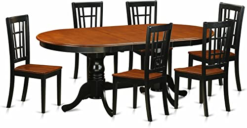 PLNI7-BCH-W 7 PC Dining room set-Dining Table with 6 Wooden Dining Chairs