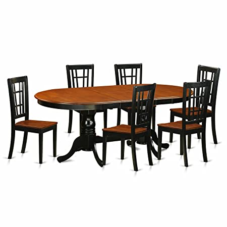 East West Furniture PLNI7-BCH-W 7 Piece Dining Table with 6 Wooden Chairs Set