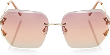 3b90189291 LIPSY Women Geometric Rimless Sunglasses