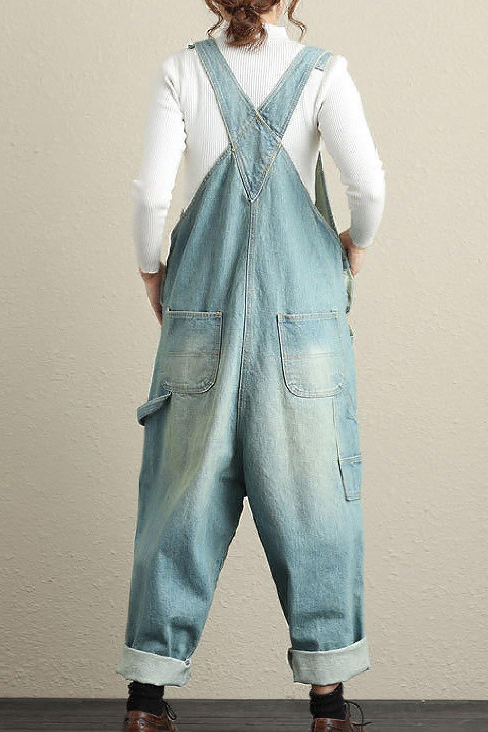 Vepodrau Le Donne Salopette di Jeans Sformati Occasionale Jeans Strappati Tute Gamba Larga Rompers