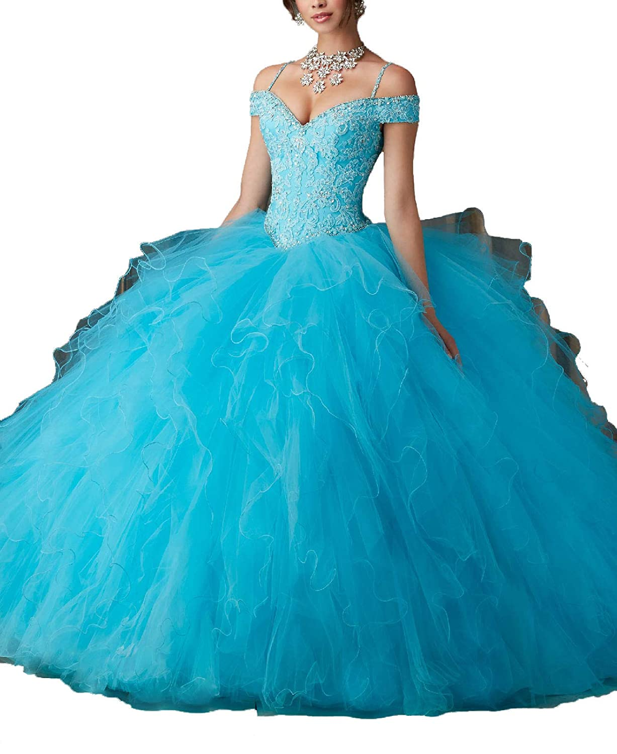 bluee Yisha Bello Women's Off The Shoulder Lace Applique Beaded Evening Ball Gowns Ruffles Quinceanera Dresses