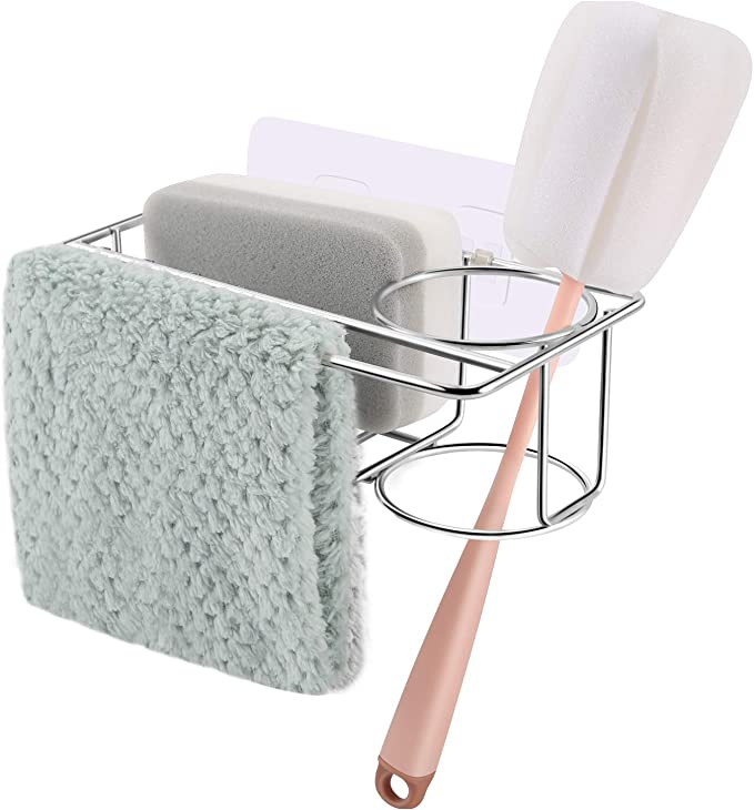 Sponge Holder For Kitchen Sink With Adhesive, 3 In 1 304 Stainless Steel Sink Caddy, Sturdy Over The Sink Rack Organizer For Sponges, Liquid Soap, Scrubber, Brush And Other Dishwashing Accessories   Amazon