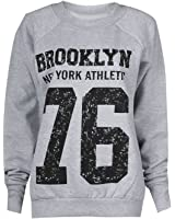 Fashion Mark - Femmes ''Brooklyn 76'' Imprimer Fleece Sweatshirt Hoodie Top - 7 Couleurs - Taille 36-42 (ML (40-42), Gris)