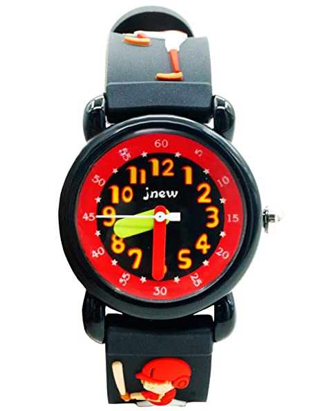 JNEW - Reloj de Pulsera Resistente al Agua para Niños con Dibujo de Béisbol Reloj Analógico de Cuarzo Negro Reloj Deportivo Infantil Cumpleaños Navidad: ...