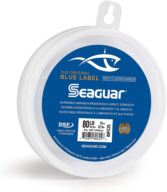 Clear 25 yd Seaguar 80FC25 Blue Label Saltwater Fluorocarbon Line 80 Lb Tested .032 Diameter