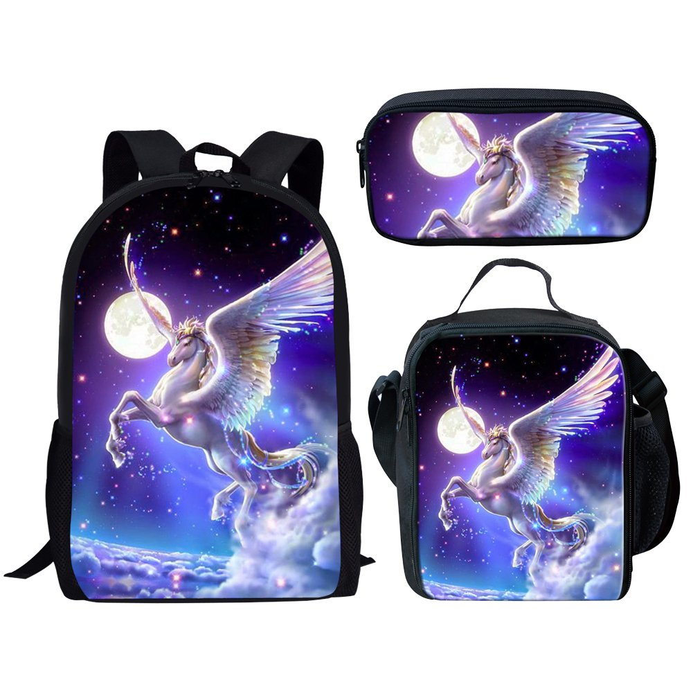 Dellukee School Backpack Set Lunch Bag Pen Bags Cute Durable Bookbags Daypacks Unicorn Print by Dellukee (Image #1)