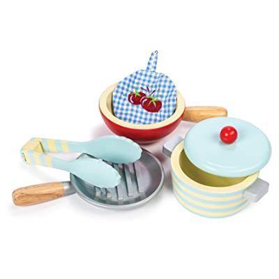 Le Toy Van Honeybake Wooden Pots & Pans Set Premium Wooden Toys for Kids Ages 3 Years & Up: Toys & Games