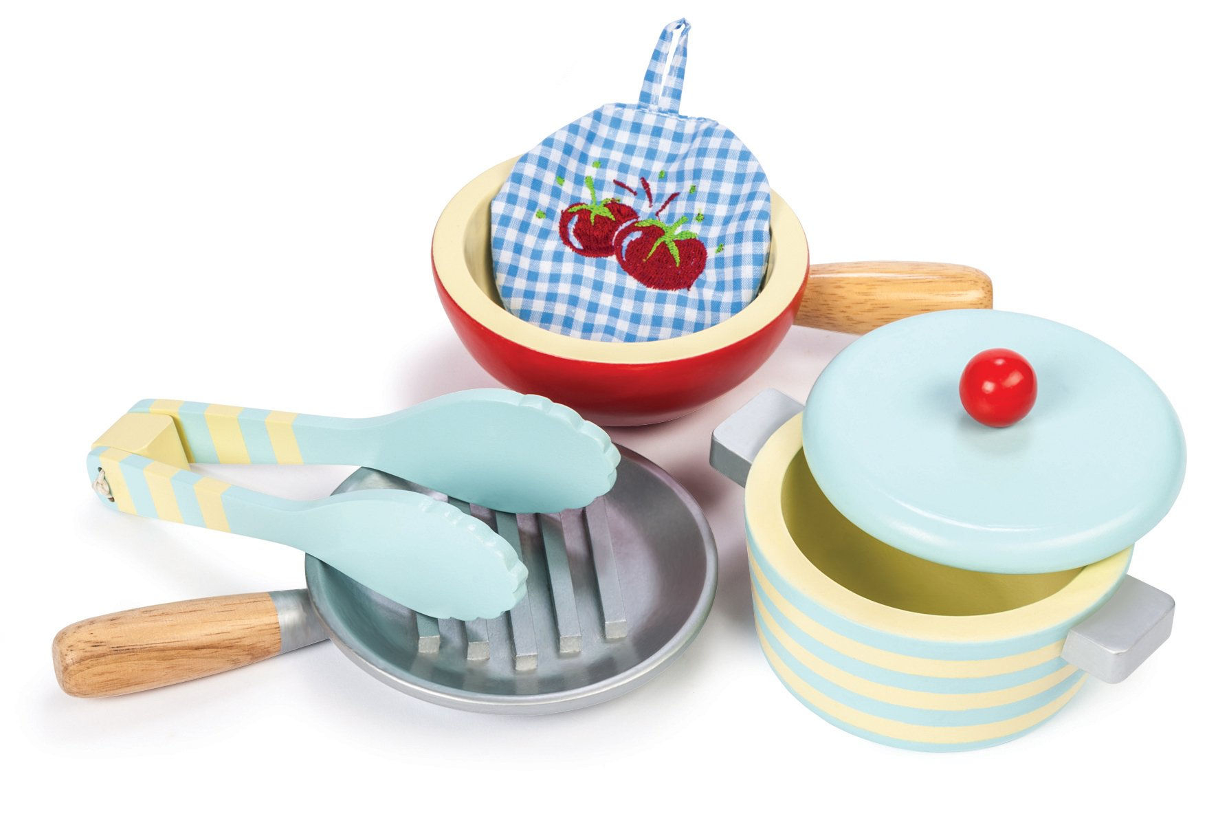 Le Toy Van Honeybake Wooden Pots & Pans Set Premium Wooden Toys for Kids Ages 3 Years & Up by Le Toy Van