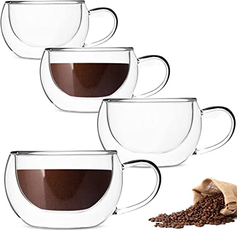 8 Oz Glass Coffee Mugs Clear Double Wall Insulated Glass Coffee Cups for Espresso Latte Cappuccino Milk Set of 6
