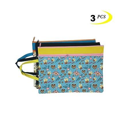Bolso con cremallera, tamaño A4, doble capa, con cremallera, 3 bolsas de