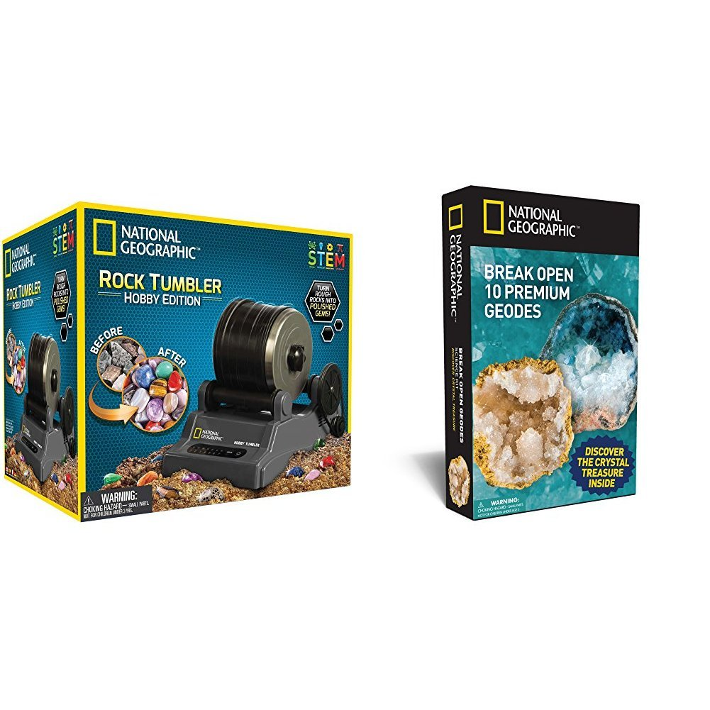 National Geographic Hobby Rock Tumbler Kit with National Geographic Break Open 10 Geodes and Explore Crystals Science Kit Bundle