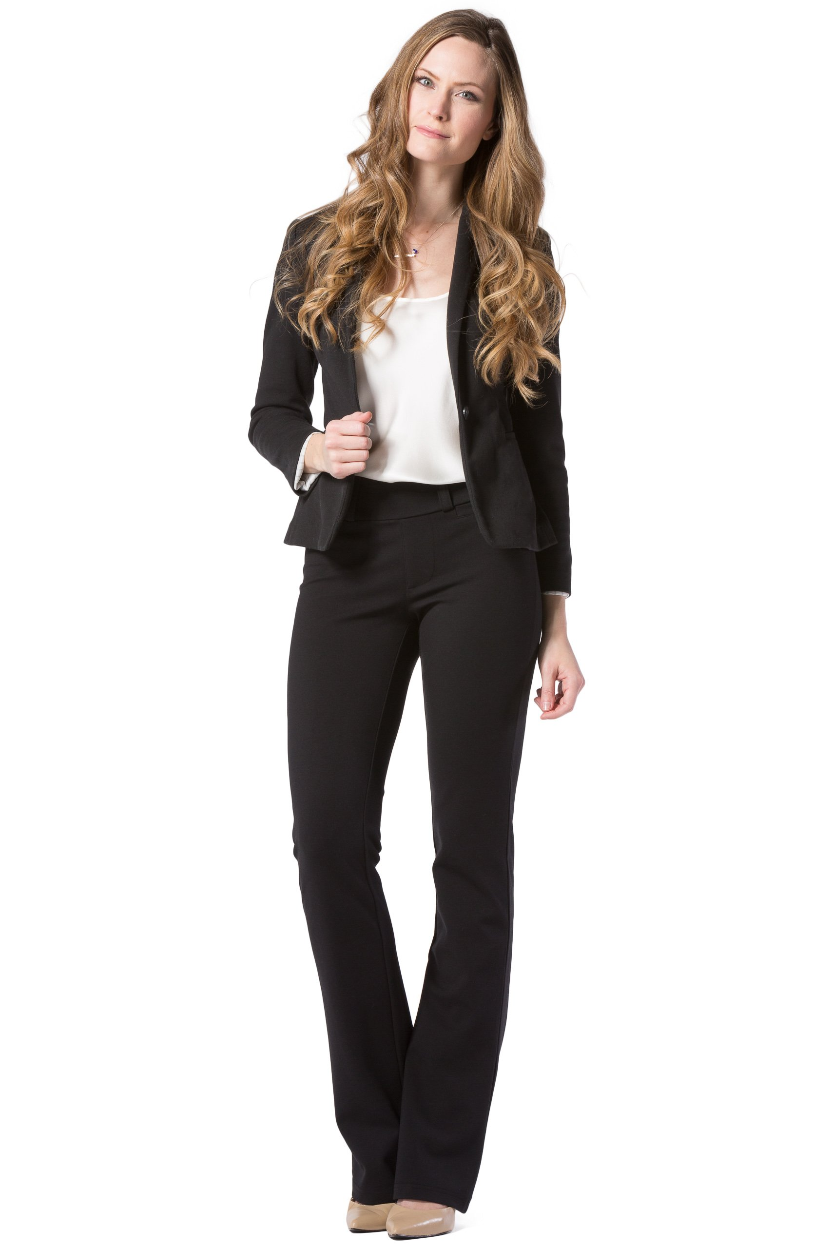 Fishers Finery Women's Ponte Boot Leg Dress Pant; Pull On (Black, M Petite) by Fishers Finery (Image #3)