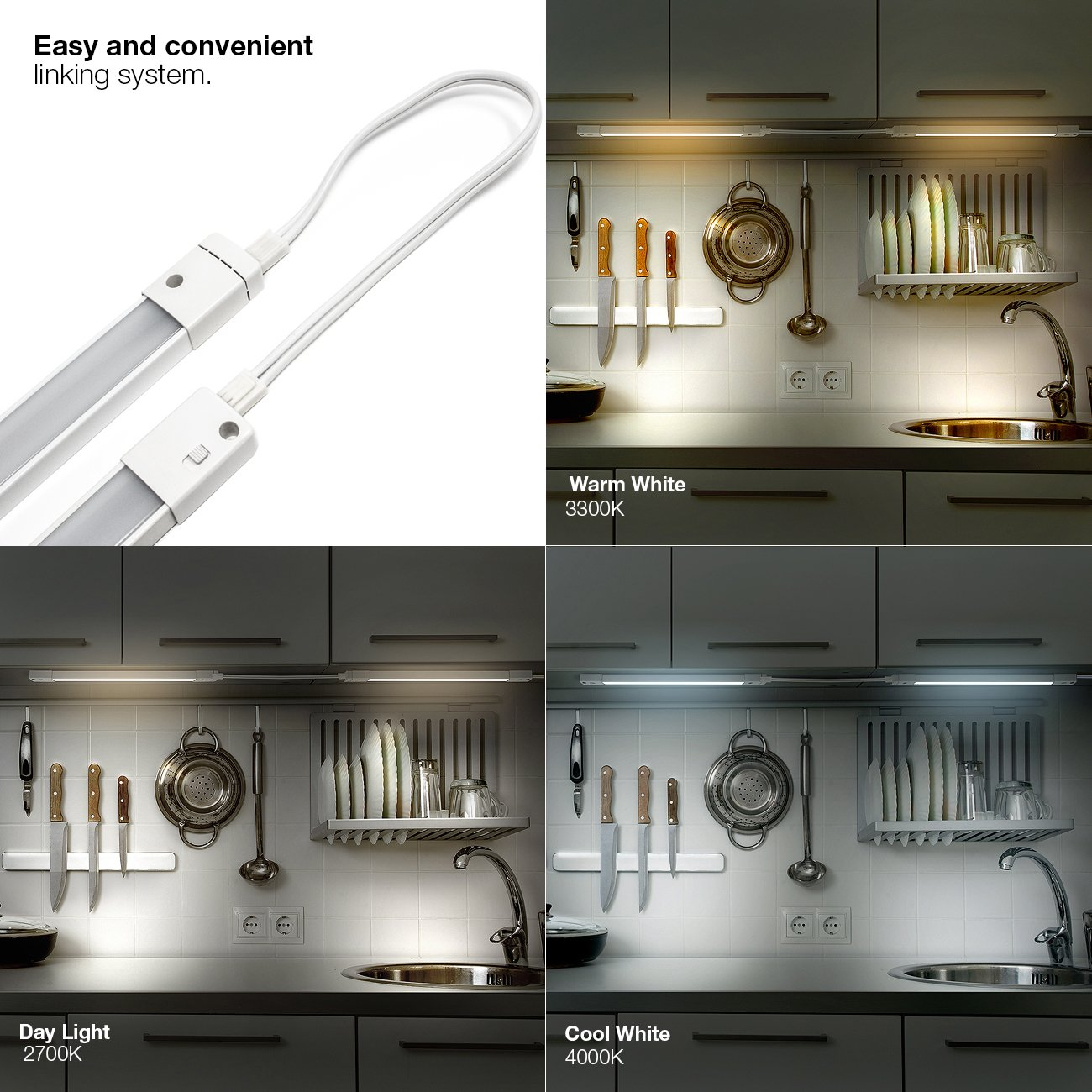 Amazon led concepts under cabinet light bar with 3 color amazon led concepts under cabinet light bar with 3 color options soft whitewarm whitedaylight linkable ultra slim great for kitchen bathroom mozeypictures Images