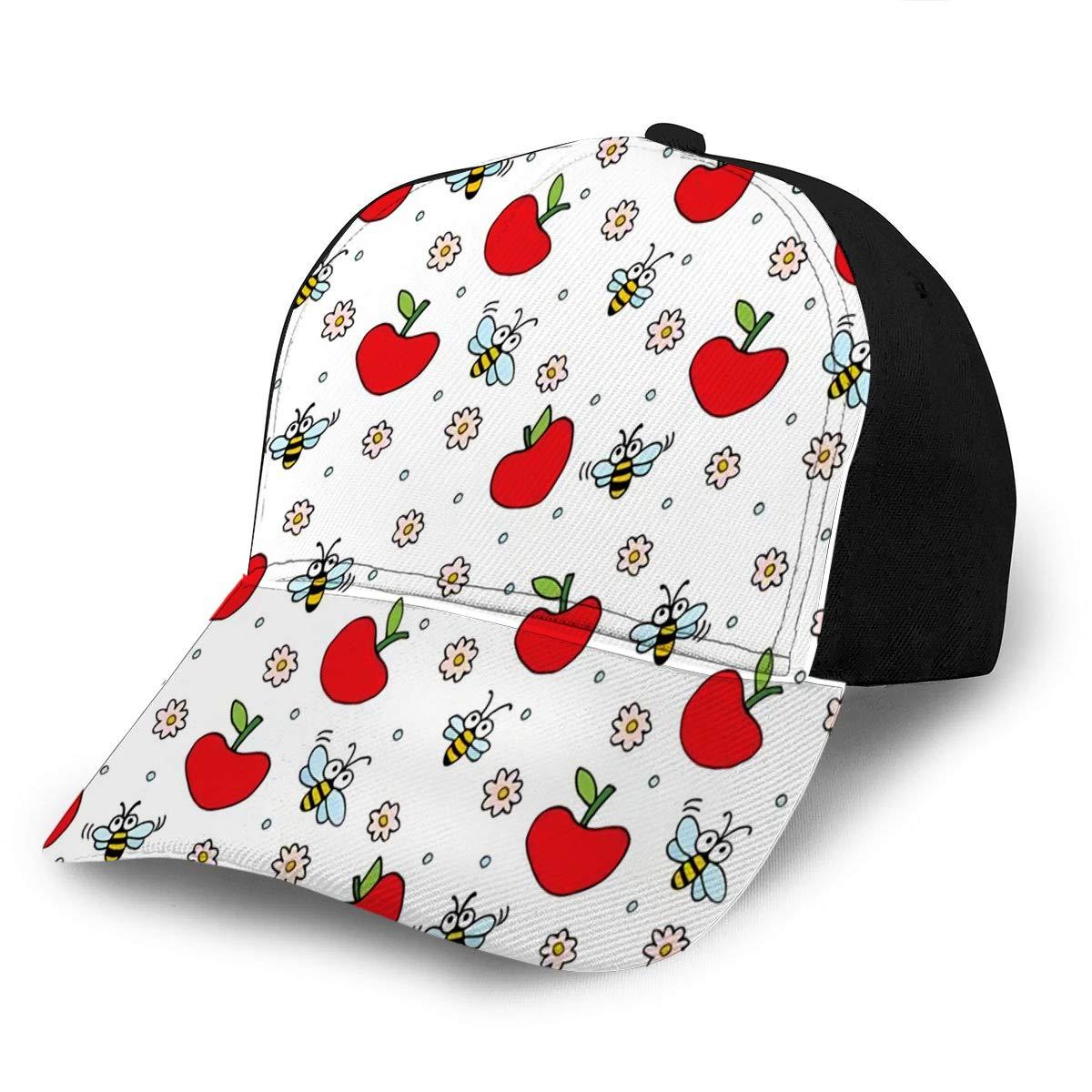 Adjustable Baseball Cap Hats Cartoon Bees Flowers and Apples Fits Men Women Boy