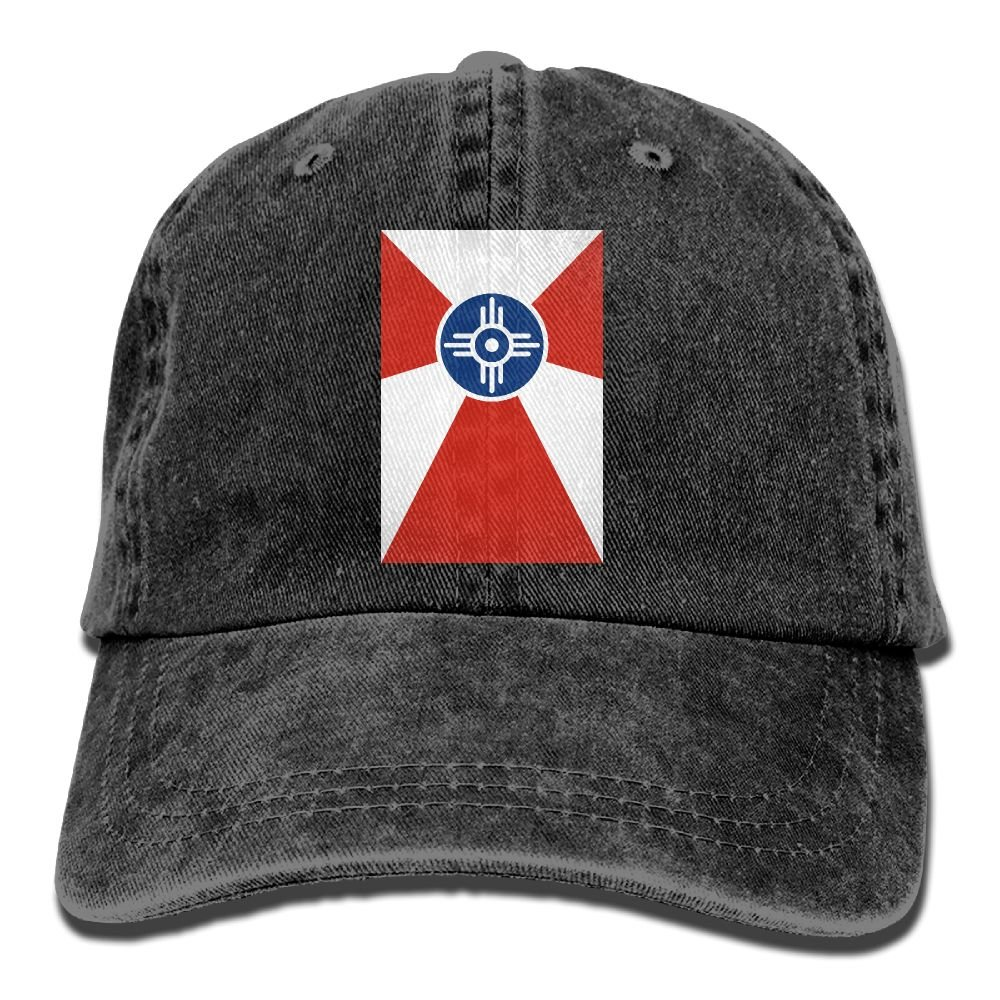 XZFQW Flag of Wichita Kansas Trend Printing Cowboy Hat Fashion Baseball Cap for Men and Women Black