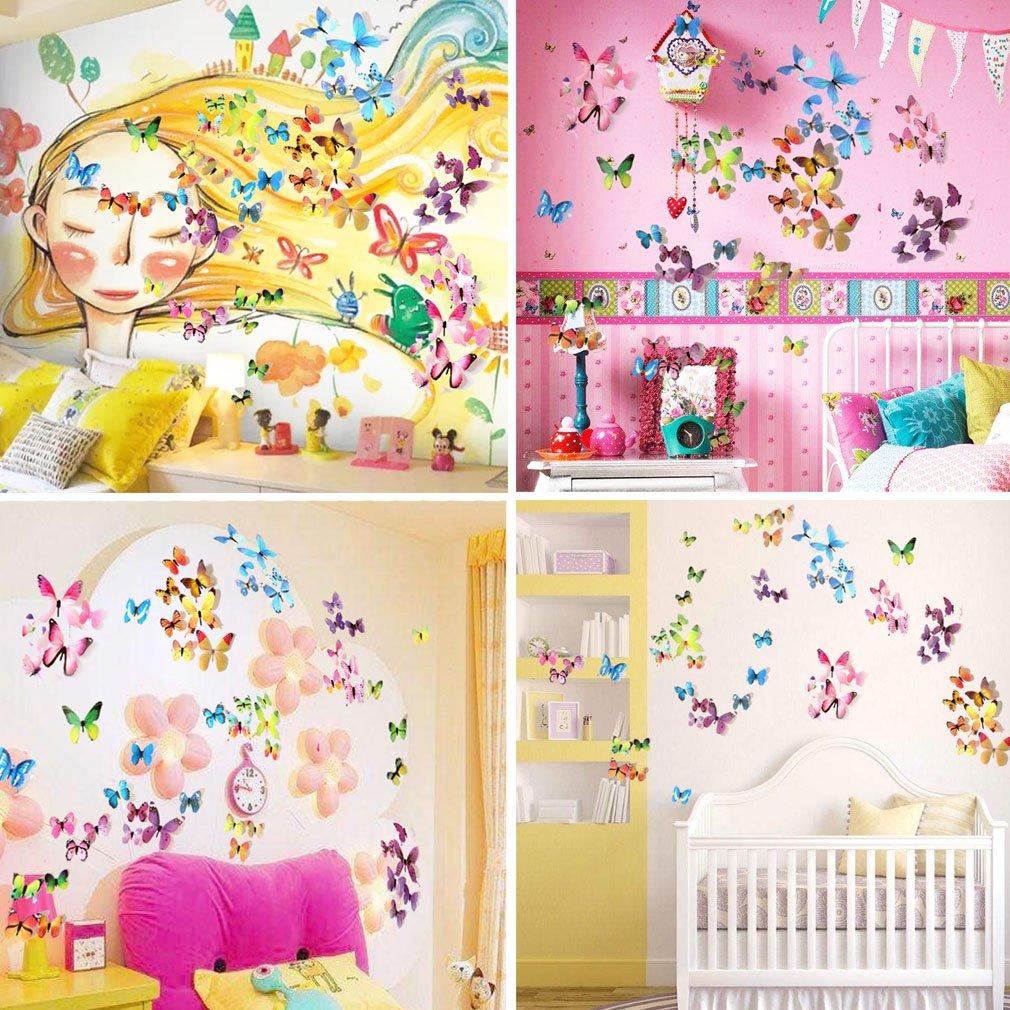 Amazon.com: Ewong Butterfly Wall Decals - 3D Butterflies Home Decor ...