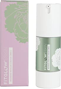 Fitglow Beauty Redness Rescue Cream - Vegan & Organic Calming Green-Tinted Primer with Seaweed Bio Extracts & Grape Seed Oil (30ml)