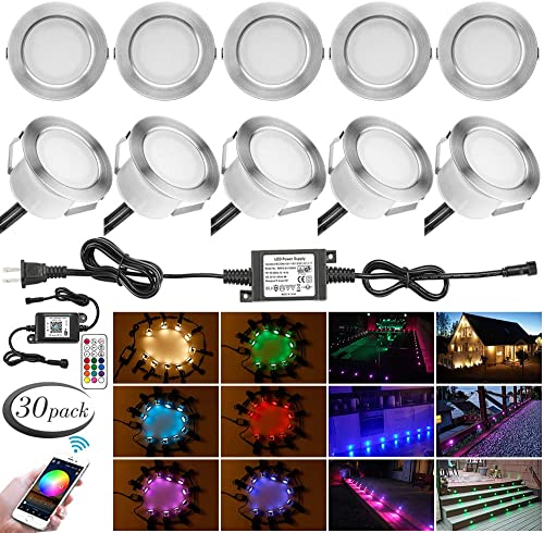 LED Deck Light Kit, 30pcs 1.77 WiFi Wireless Smart Phone Control Low Voltage Recessed RGBW Deck Lamp In-ground Lighting Waterproof Outdoor Yard Path Stair Landscape Decor, Fit for Alexa,Google Home