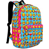 Zicac School Canvas Printed Emoji Backpack (Blue)