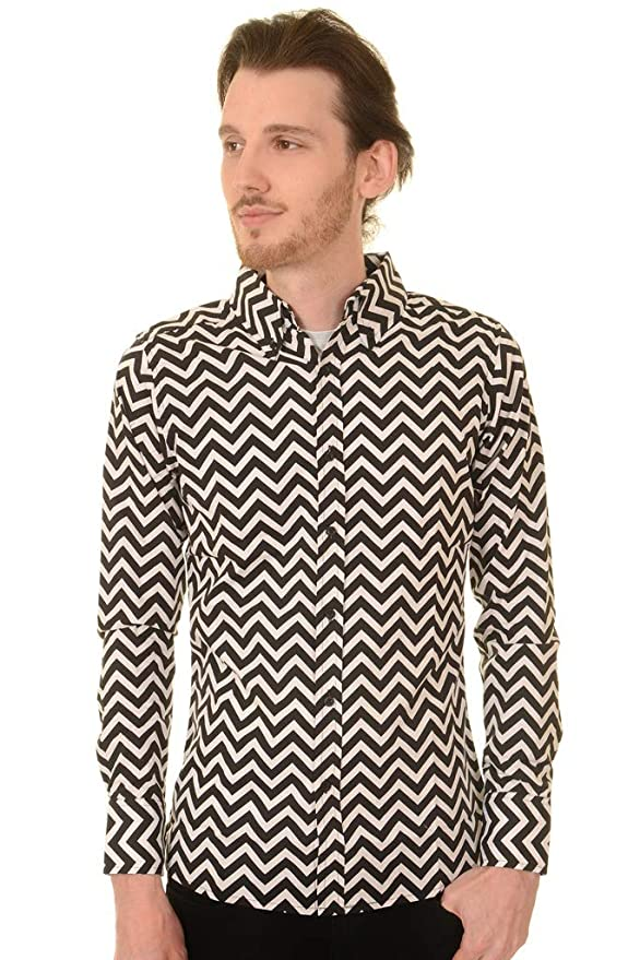 1960s Menswear Outfits | 60s Fashion for Guys Run & Fly Mens 60s 70s Black & White Psychedelic Zippy Zig Zag Shirt $34.95 AT vintagedancer.com