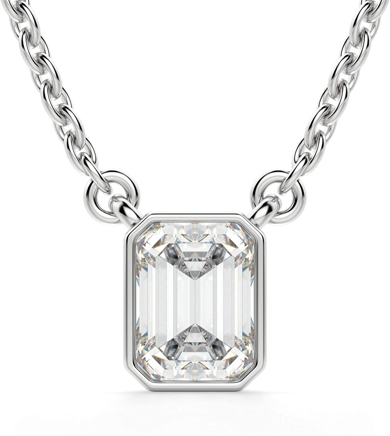 Dainty Bridal Pendant Necklace Rose Gold Moissanite Necklace Moissanite Pendant Necklace Diamond Silver Necklace Gift for Wife