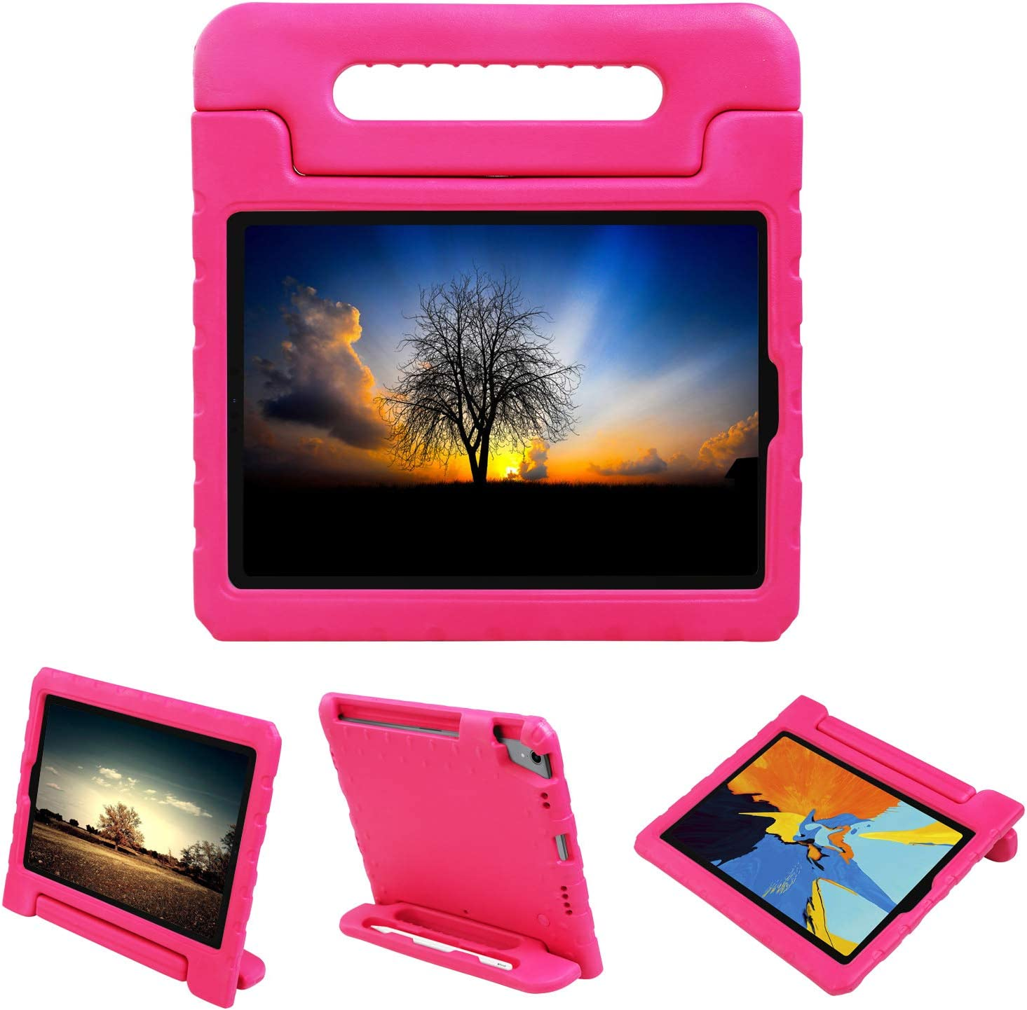 NEWSTYLE Shockproof Case for Apple iPad Pro 11 inch Case Light Weight Kids Case Super Protection Cover Handle Stand Case for Kids Children with Apple Pencil Holder (2018 Released) (Rose)