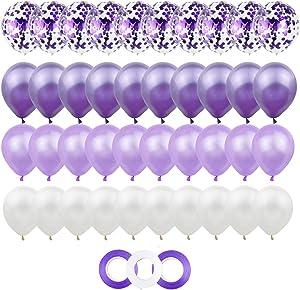40Pcs 12inch Purple Lavender White Confetti Latex Balloon with 3 rolls Ribbon Birthday Wedding Party Decor