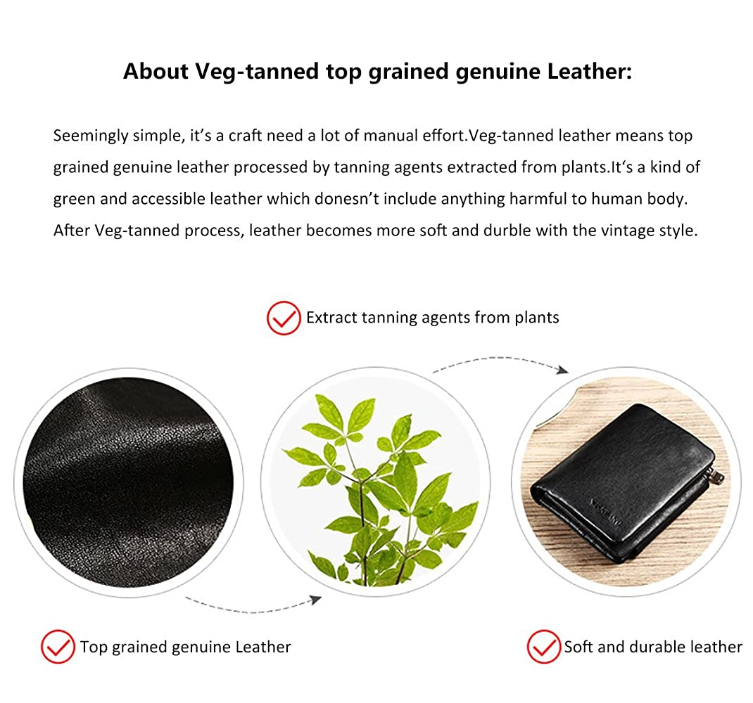 Genuine Veg-tanned Leather Wallet for Men Gift Box incl. Removable Insert