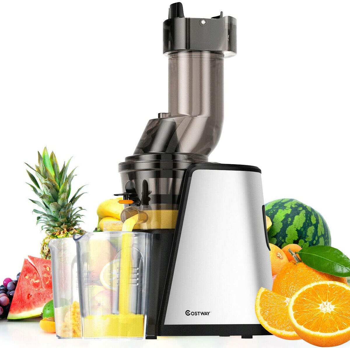 COSTWAY Slow Juicer Masticating Machine with 3.4 inch Wide Chute, Stainless Steel Juicer Extractor with Cold Press Masticating Squeezer Technology, Quiet Motor & Reverse Function, Easy-to-Clean, BPA-Free