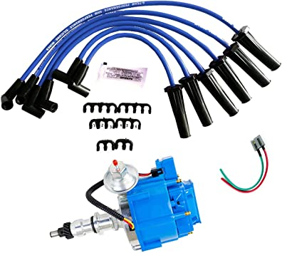 Amazon.com: A-Team Performance HEI Complete Distributor Blue Cap with 6CYL  8mm Blue Silicone Spark Plug Wires Set and Pigtail Wiring Harness  Tachometer Compatible with Ford Inline 6 144 170 200 250 5/16 Hex Shaft:  Automotive | Spark Plug Wire Harness |  | Amazon.com