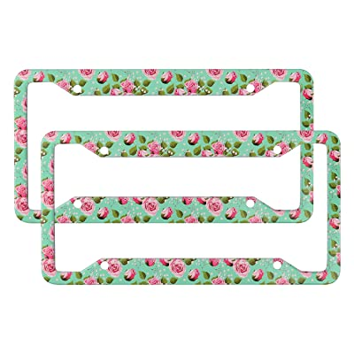 DZGlobal 2 Pcs Flower License Plate Frame, Retro Rose License Plate Frame, Decorative Aluminum Metal Car License Plate Frame, Funny Green Frame for Back and Front Car License Plate(4 Holes): Sports & Outdoors [5Bkhe1514482]