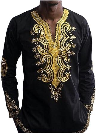 Hombres Camiseta De Manga Larga De Dashiki African Tribal Floral Hip Hop Tops: Amazon.es: Ropa y accesorios