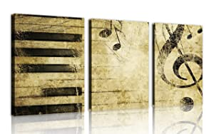 NAN Wind Note and Piano'S Keys in The Paper Wall Art Painting Pictures Print On Canvas Music The Picture for Home Modern Decoration Print on Canvas Framed and Stretched,3pcs/Set