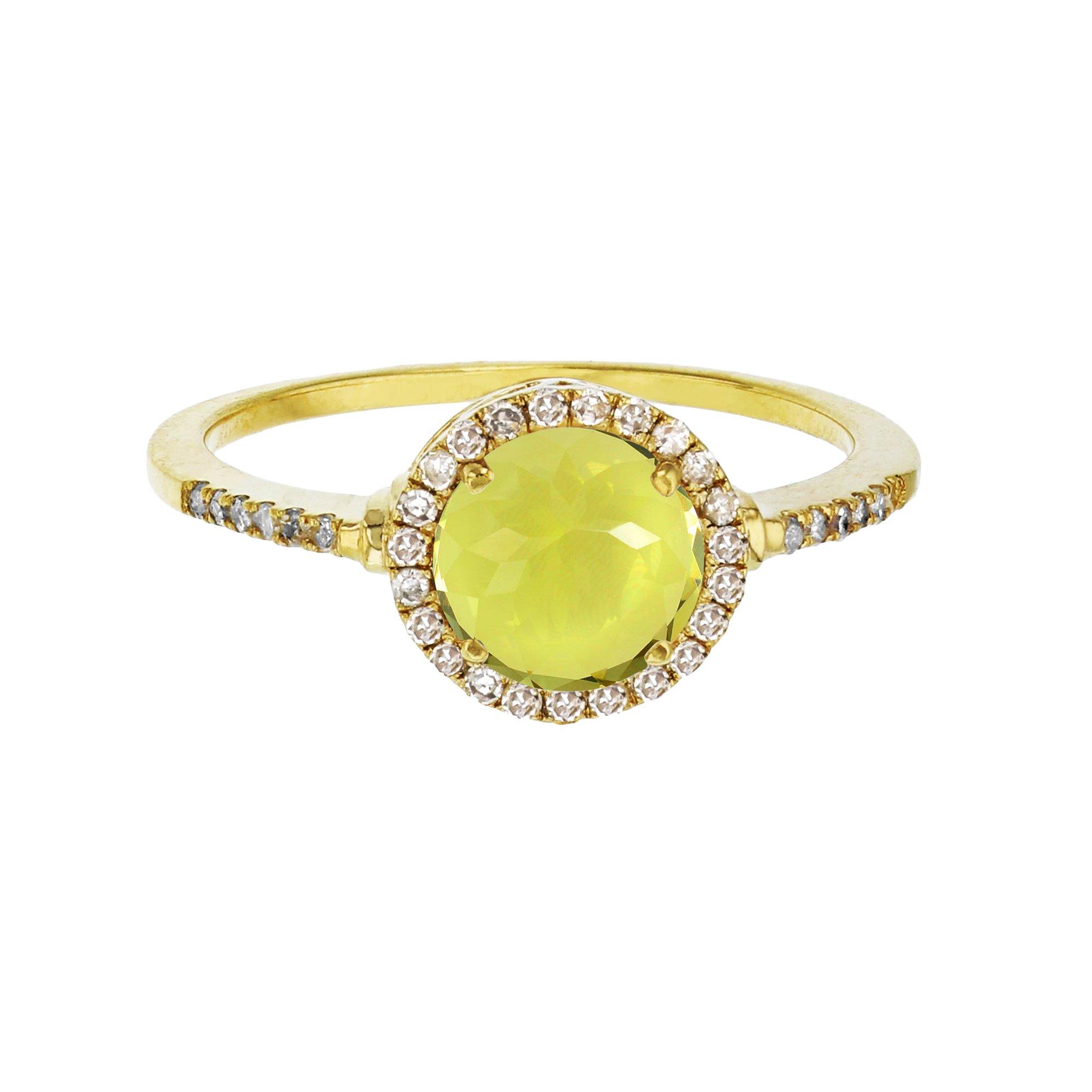 10K Yellow Gold 7mm Round Lemon Quartz & 0.18 CTTW Diamond Halo Ring by Decadence