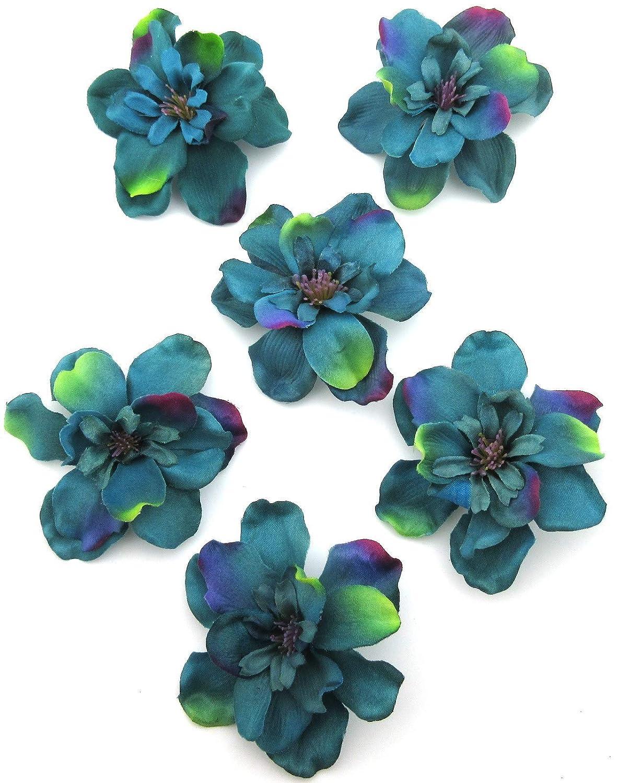 6 pc Lot Teal Blue Apple Blossom Silk Flower Hair Clips