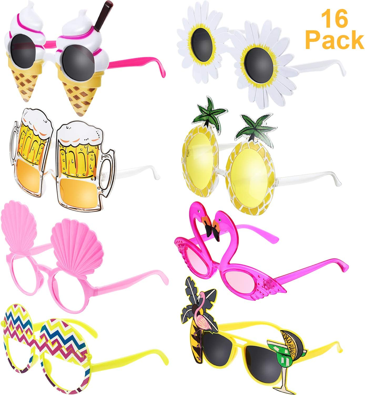 Chinco 16 Pares de Gafas de Fiesta Divertidas Gafas Hawaianas Tropicales para Fiesta Luau Tropical Disfraz Gafas para Niños y Adultos, 8 Estilos: Amazon.es: Juguetes y juegos