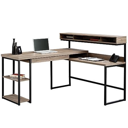 Sauder 414417 Transit L-Desk, L 60.71 x W 59.06 x H 42.52 , Salt Oak finish