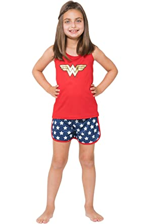 f17cae869 Amazon.com  Intimo Girls  Wonder Woman Sporty Mesh Pajama Set  Clothing