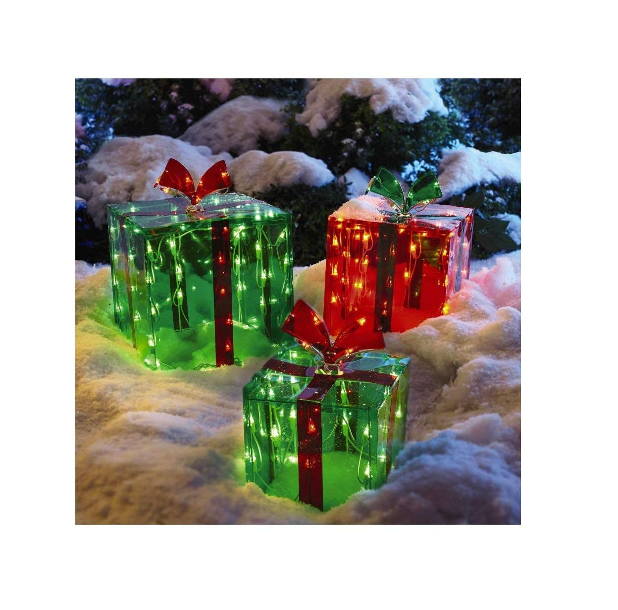 3 Lighted Gift Boxes Christmas Decoration Yard Decor 150 Lights ...