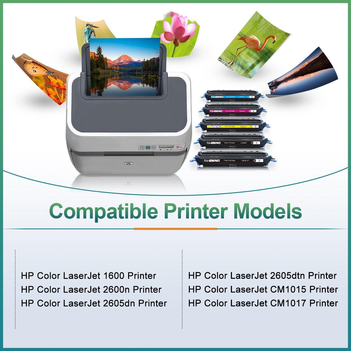 Amazon.com: Q6000A 124A Black Toner Cartridges Replacement for Q6001A  Q6002A Q6003A (2B 1Y 1C 1M) Compatible with HP Color Laserjet 1600 2600n  2605dn ...