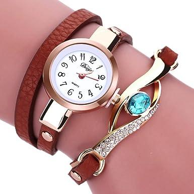 Amazon.com: Ladies Watch Bracelet,Fashion Circle Wrap Around Wristwatch Diamond Student Clock (Brown): Cell Phones & Accessories