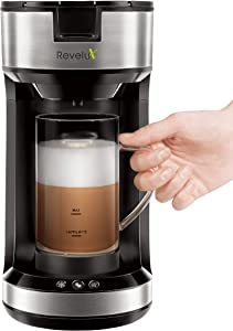 Single Serve Coffee Maker with Milk Frother, Coffee Maker with Frother for Latte, Cappuccino, Single Cup Coffee Maker Compatible with K-Cup Pods and Coffee Grounds, 20 oz Frothing Mug Included