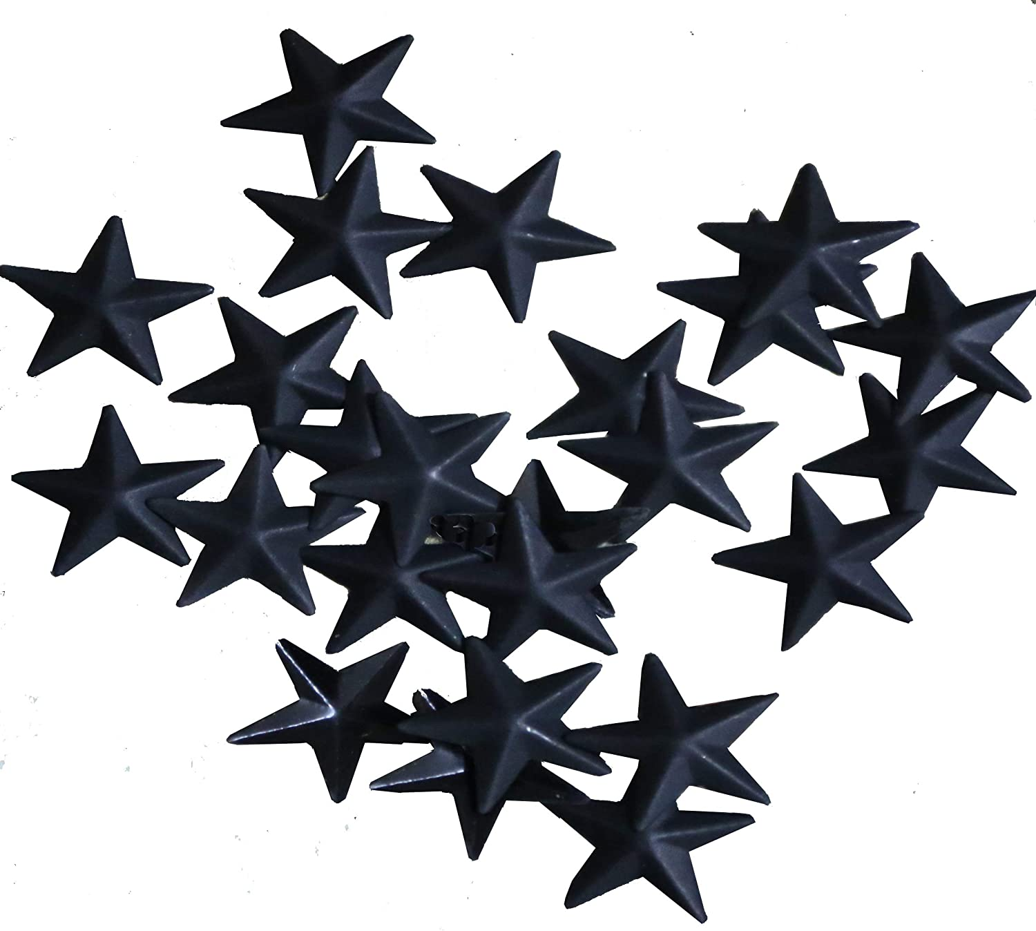 TAIANLE.Small Vintage Metal Barn Star,Black Color Without Hole,Primitives Rustic Country Décor. Home Decorative, 1-Inch, Set of 24 …