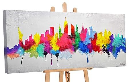 100/% dipinto a mano acrilico dipinto mano Muro ARTE Immagine Tela Skyline
