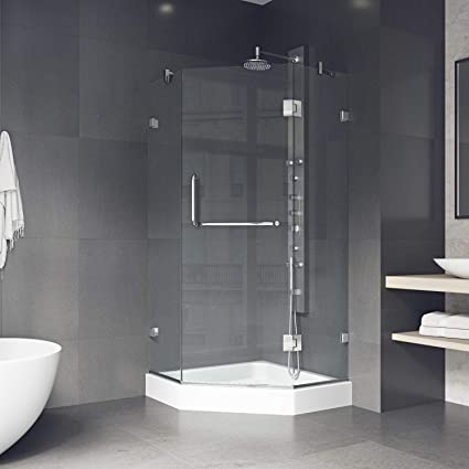 Corner Frameless Glass Shower Doors.Vigo Vg6062chcl36w Piedmont 36 X 36 Inch Clear Glass Corner Frameless Neo Angle Shower Enclosure Hinged Shower Door With Magnalock Technology